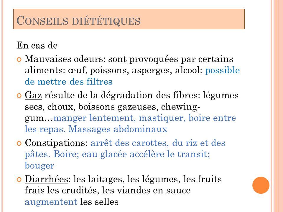 Conseils diététiques En cas de