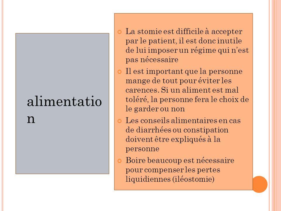 La stomie est difficile à accepter par le patient, il est donc inutile de lui imposer un régime qui n'est pas nécessaire