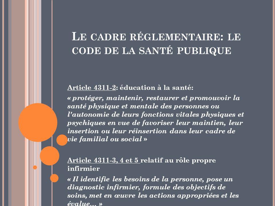 Le cadre réglementaire: le code de la santé publique