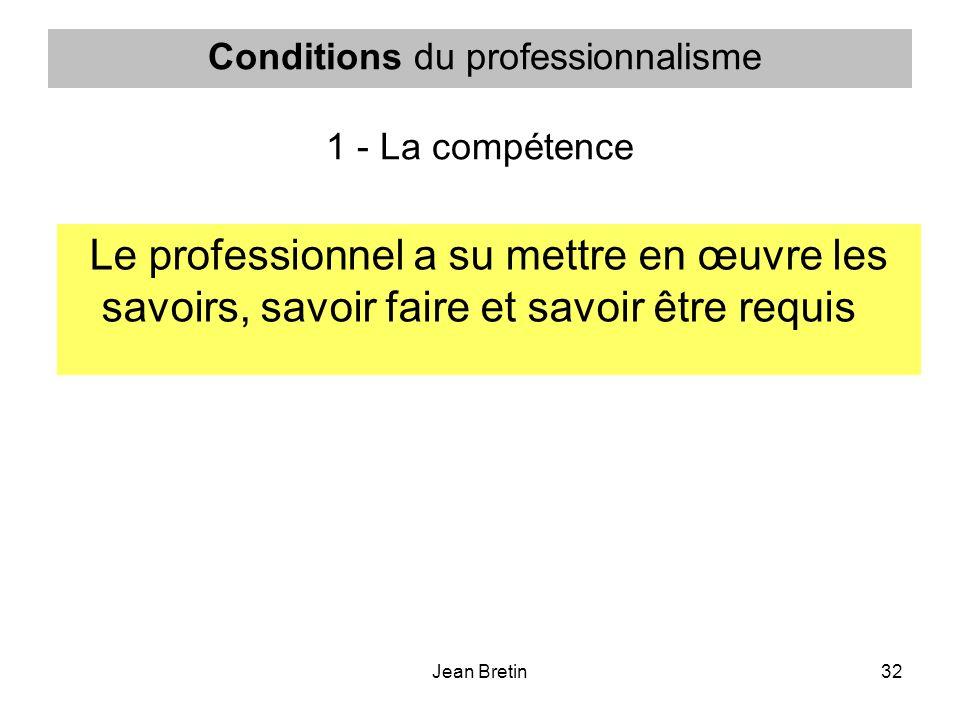 Conditions du professionnalisme 1 - La compétence