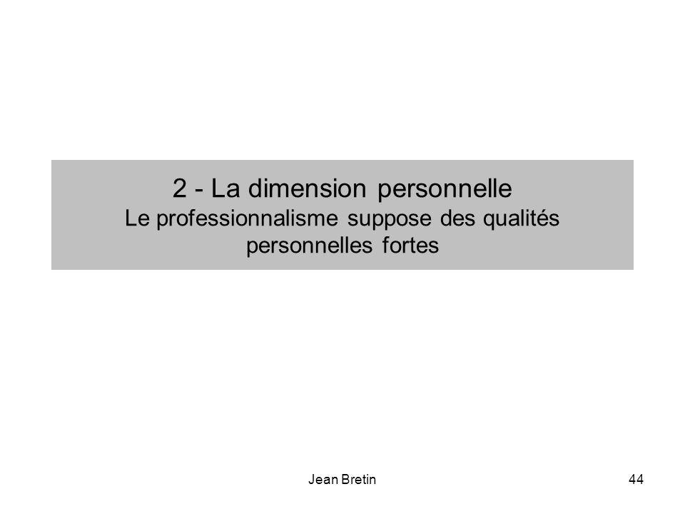 2 - La dimension personnelle Le professionnalisme suppose des qualités personnelles fortes