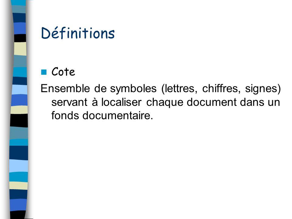 Définitions Cote.