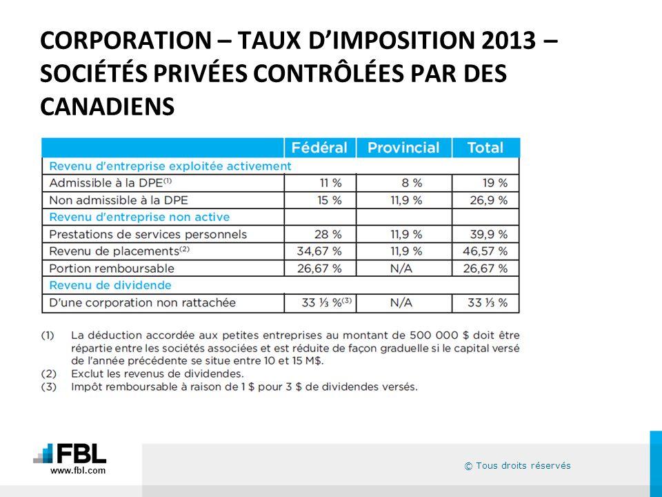 CORPORATION – TAUX D'IMPOSITION 2013 – SOCIÉTÉS PRIVÉES CONTRÔLÉES PAR DES CANADIENS