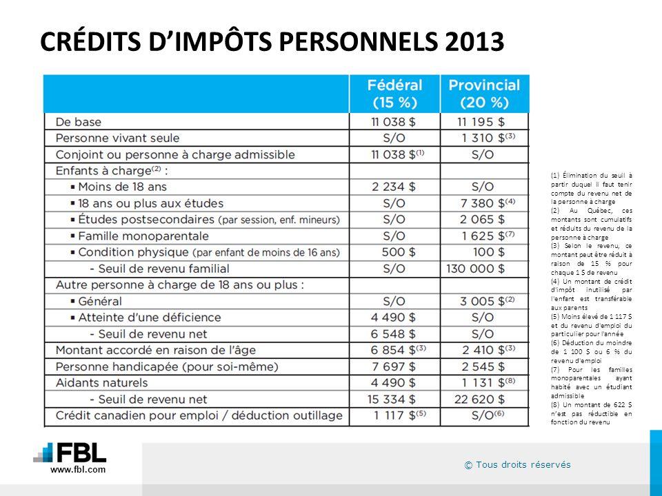 CRÉDITS D'IMPÔTS PERSONNELS 2013