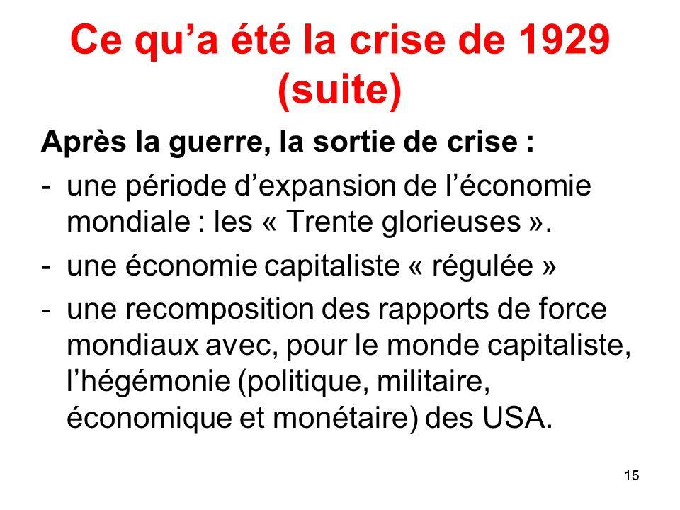 Ce qu'a été la crise de 1929 (suite)