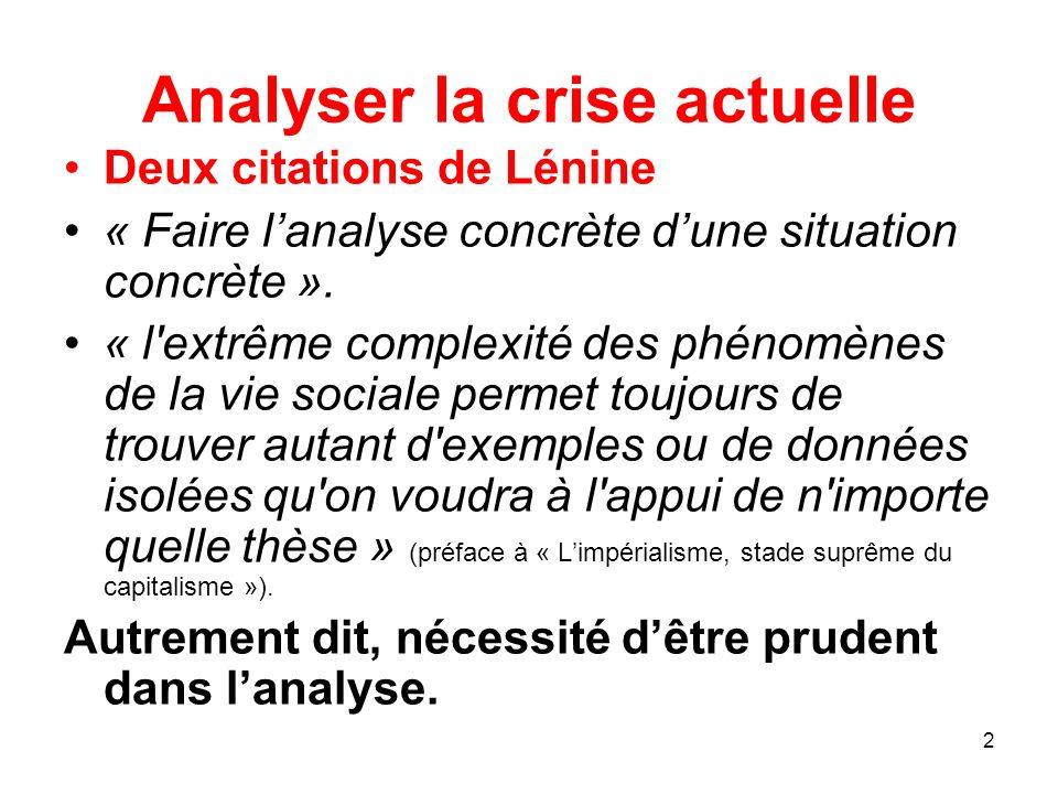 Analyser la crise actuelle