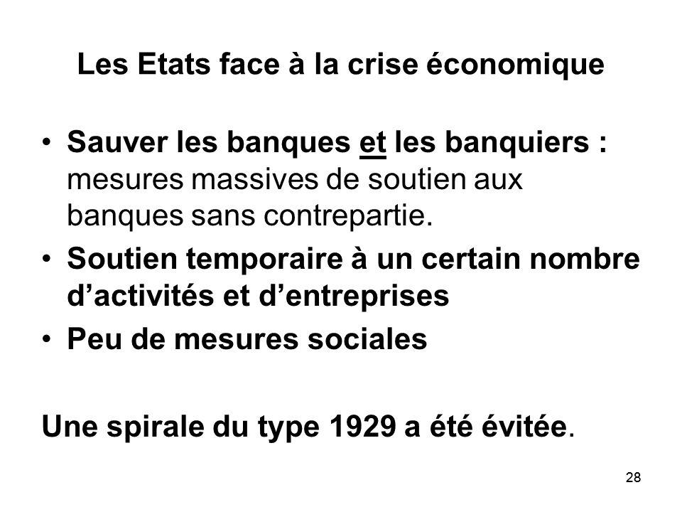 Les Etats face à la crise économique