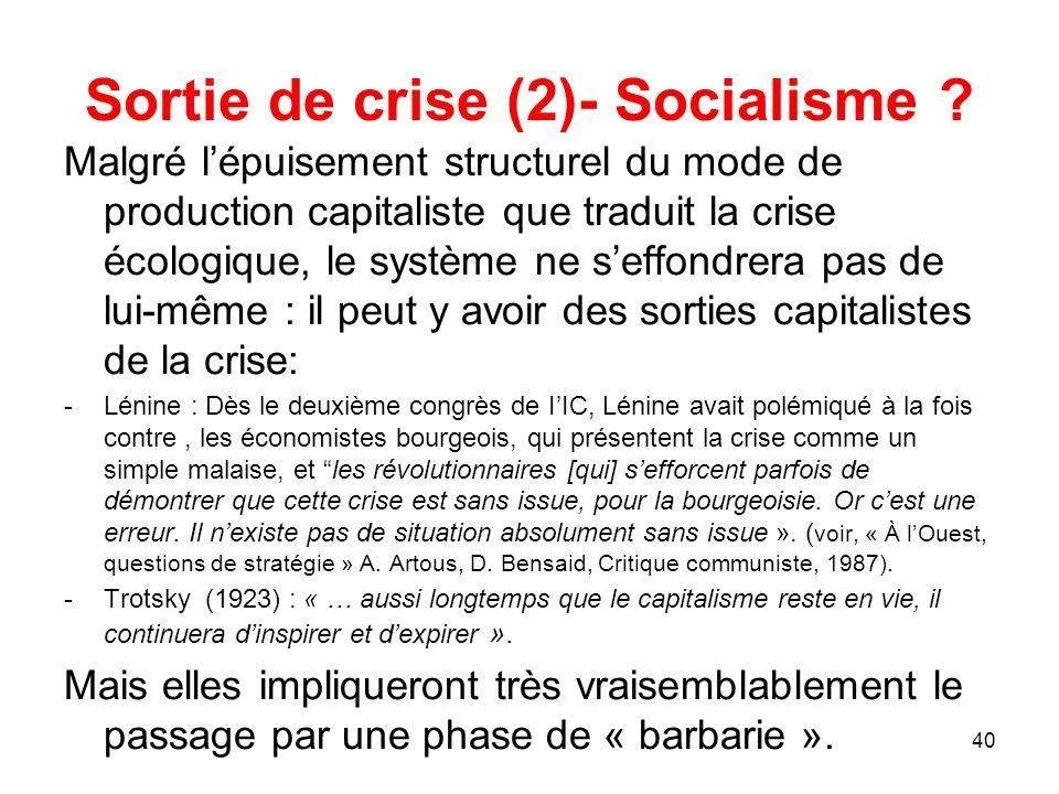 Sortie de crise (2)- Socialisme