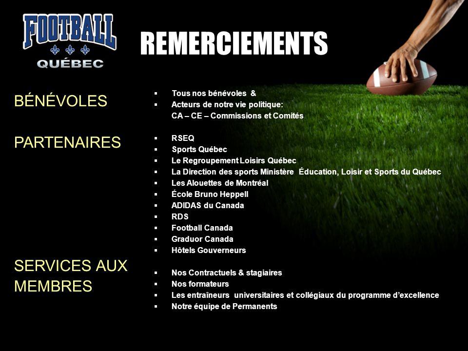 REMERCIEMENTS BÉNÉVOLES PARTENAIRES SERVICES AUX MEMBRES