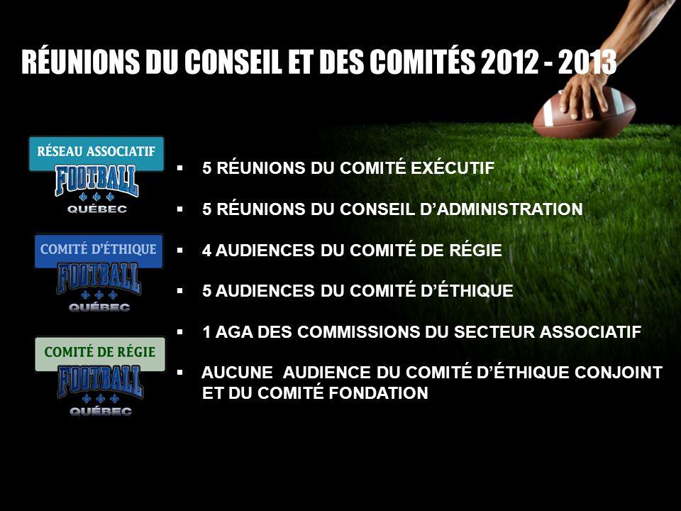 RÉUNIONS DU CONSEIL ET DES COMITÉS 2012 - 2013