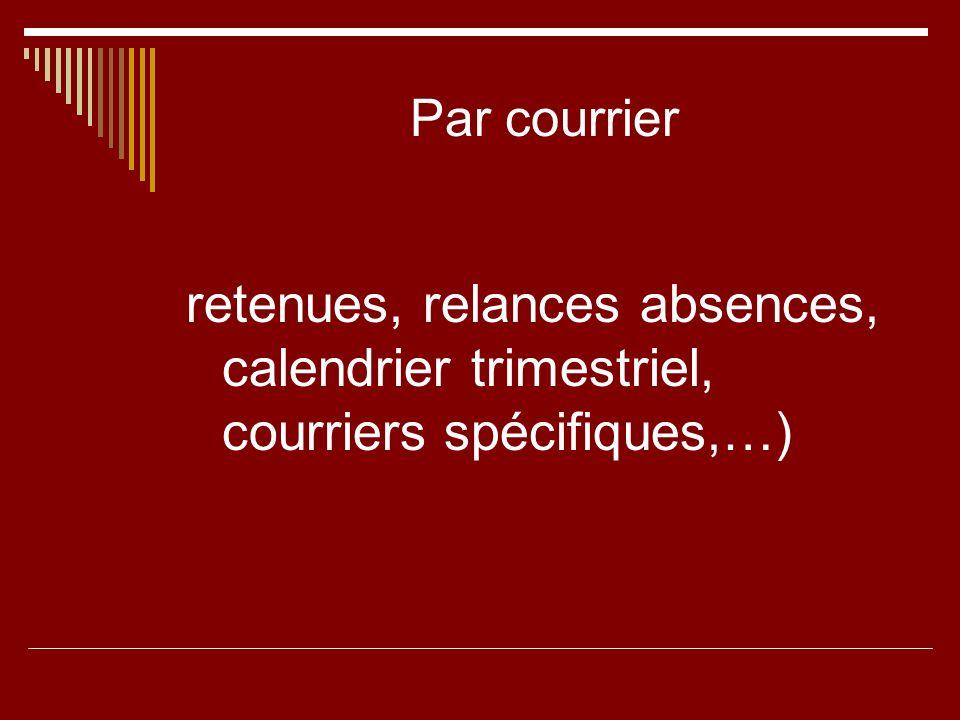 Par courrier retenues, relances absences, calendrier trimestriel, courriers spécifiques,…)