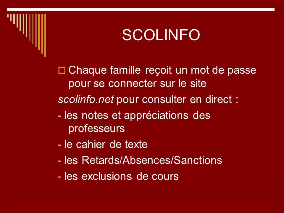 SCOLINFO Chaque famille reçoit un mot de passe pour se connecter sur le site. scolinfo.net pour consulter en direct :