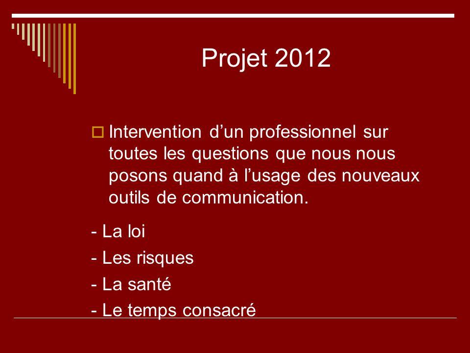Projet 2012 Intervention d'un professionnel sur toutes les questions que nous nous posons quand à l'usage des nouveaux outils de communication.