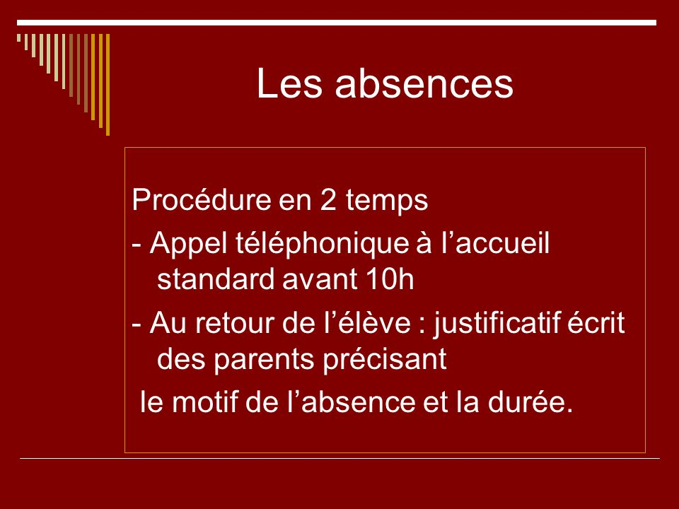 Les absences Procédure en 2 temps