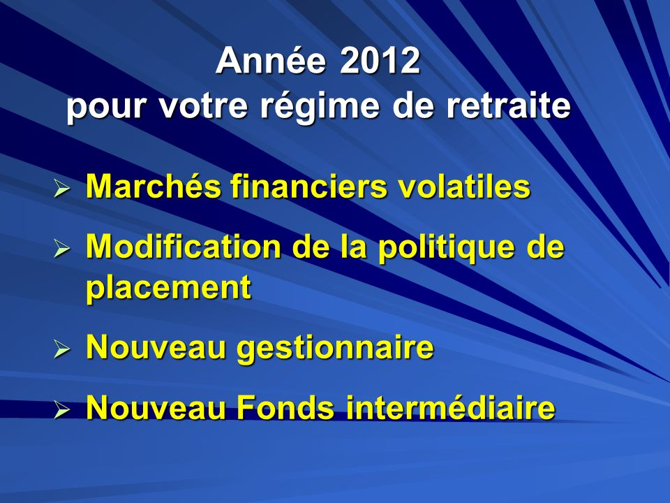 Année 2012 pour votre régime de retraite
