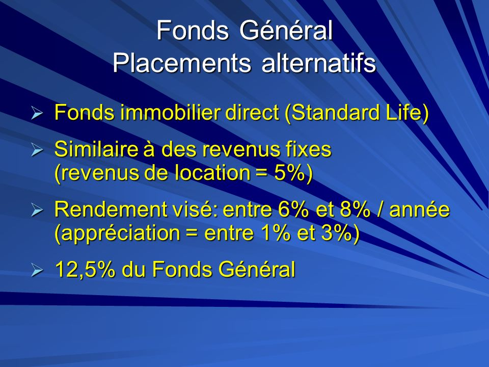 Fonds Général Placements alternatifs