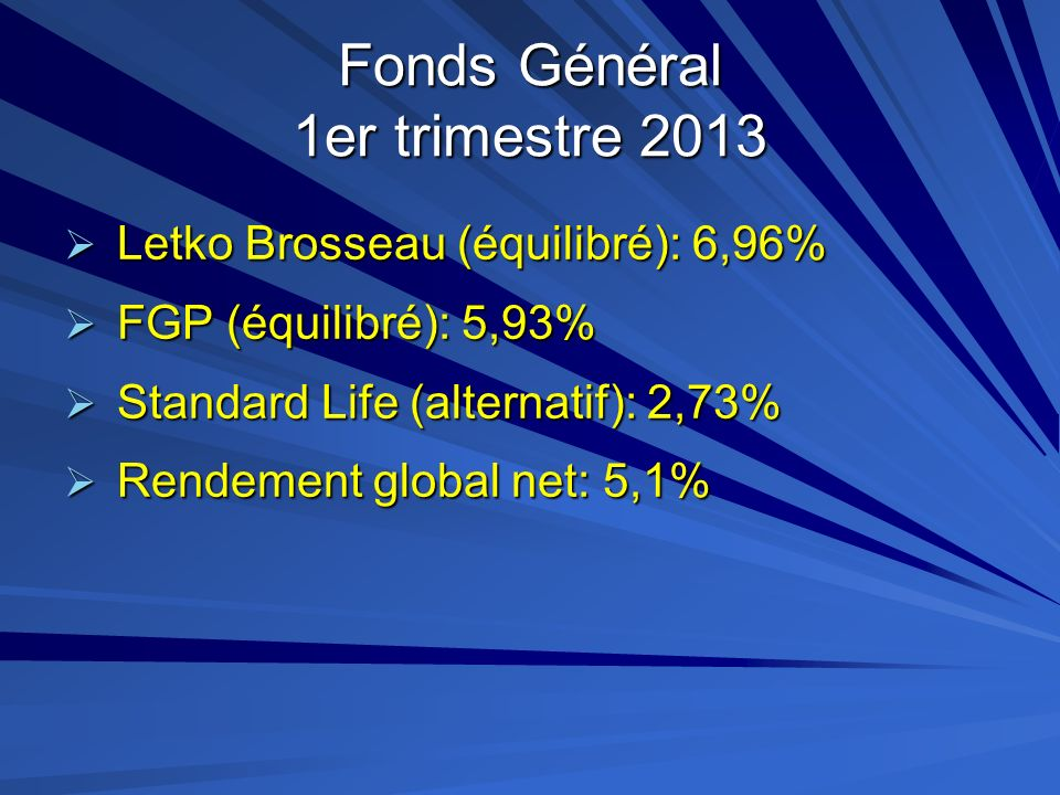 Fonds Général 1er trimestre 2013