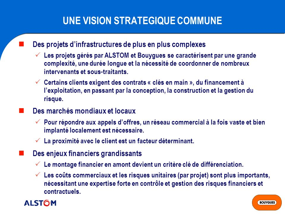 UNE VISION STRATEGIQUE COMMUNE