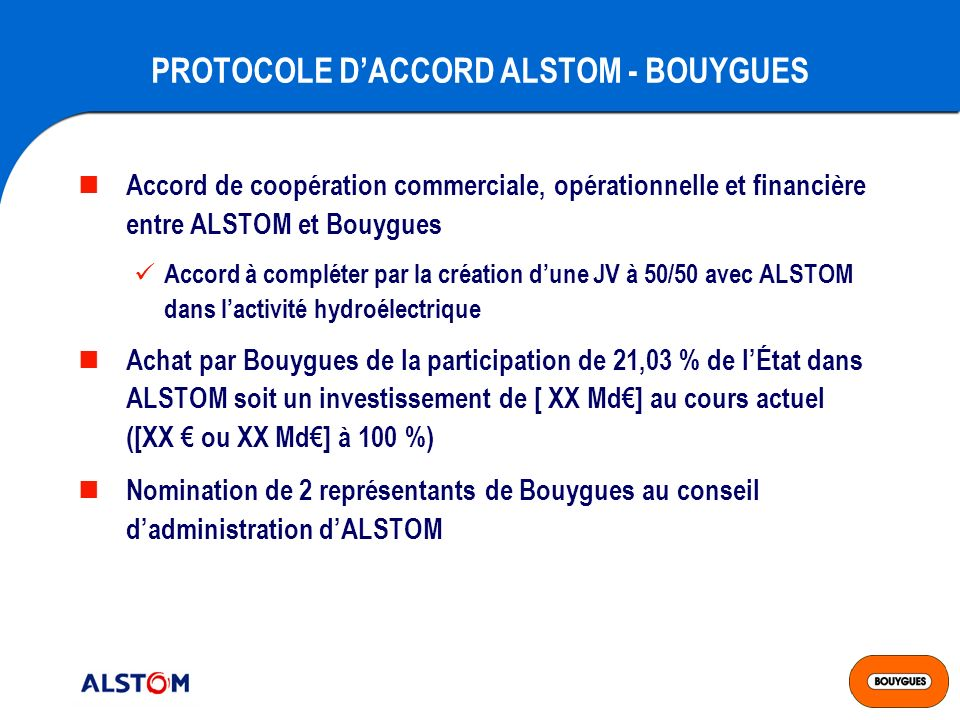 PROTOCOLE D'ACCORD ALSTOM - BOUYGUES