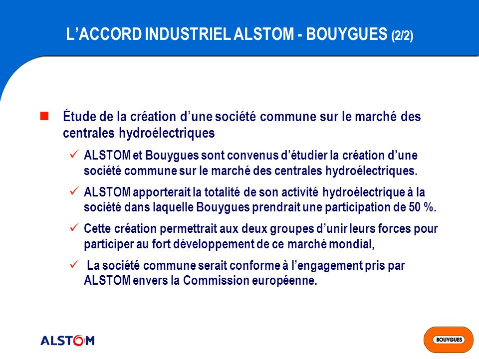 L'ACCORD INDUSTRIEL ALSTOM - BOUYGUES (2/2)