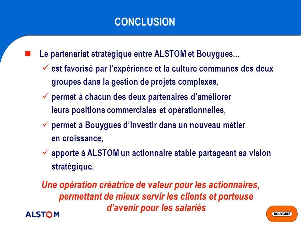 CONCLUSION Le partenariat stratégique entre ALSTOM et Bouygues...