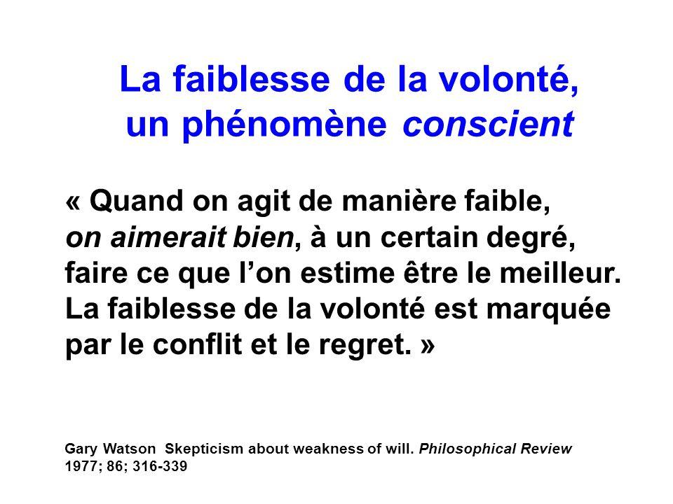 La faiblesse de la volonté, un phénomène conscient