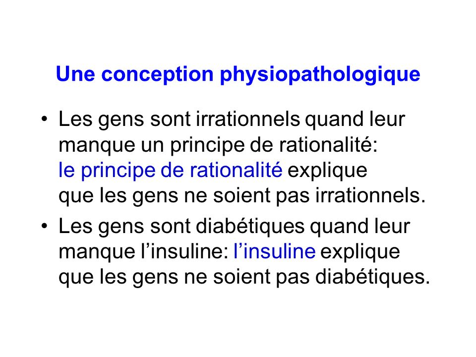 Une conception physiopathologique