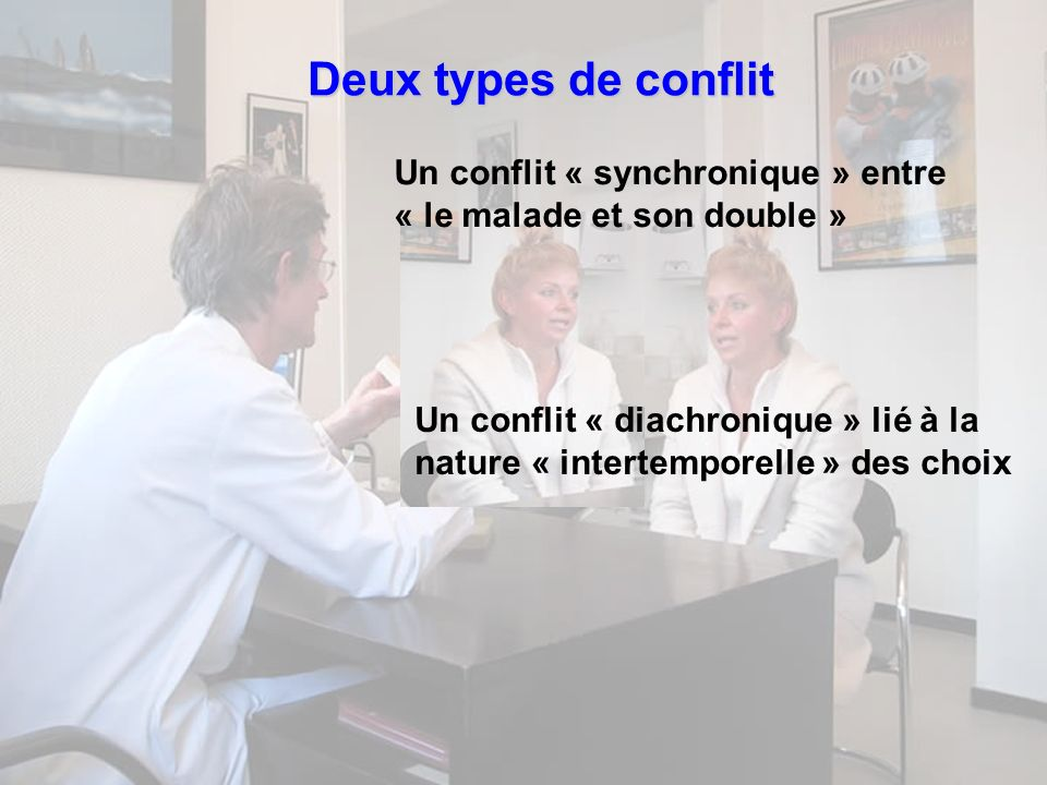 Deux types de conflit Un conflit « synchronique » entre « le malade et son double »