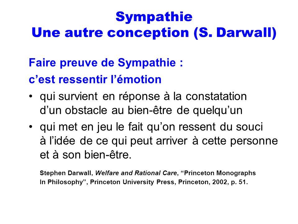 Sympathie Une autre conception (S. Darwall)