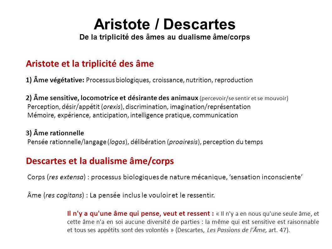 Aristote / Descartes De la triplicité des âmes au dualisme âme/corps