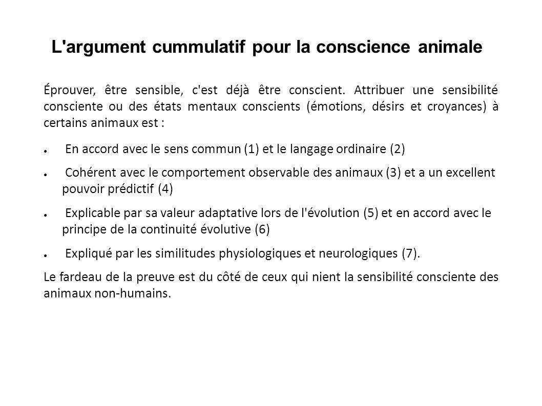 L argument cummulatif pour la conscience animale