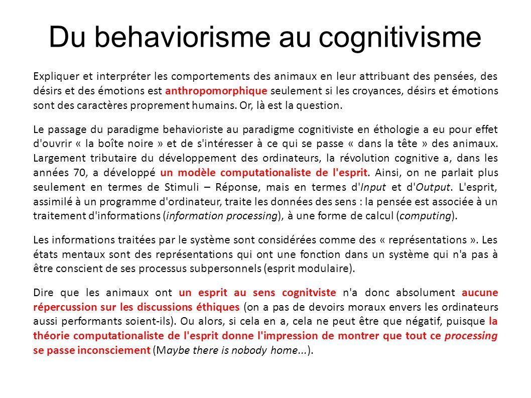 Du behaviorisme au cognitivisme