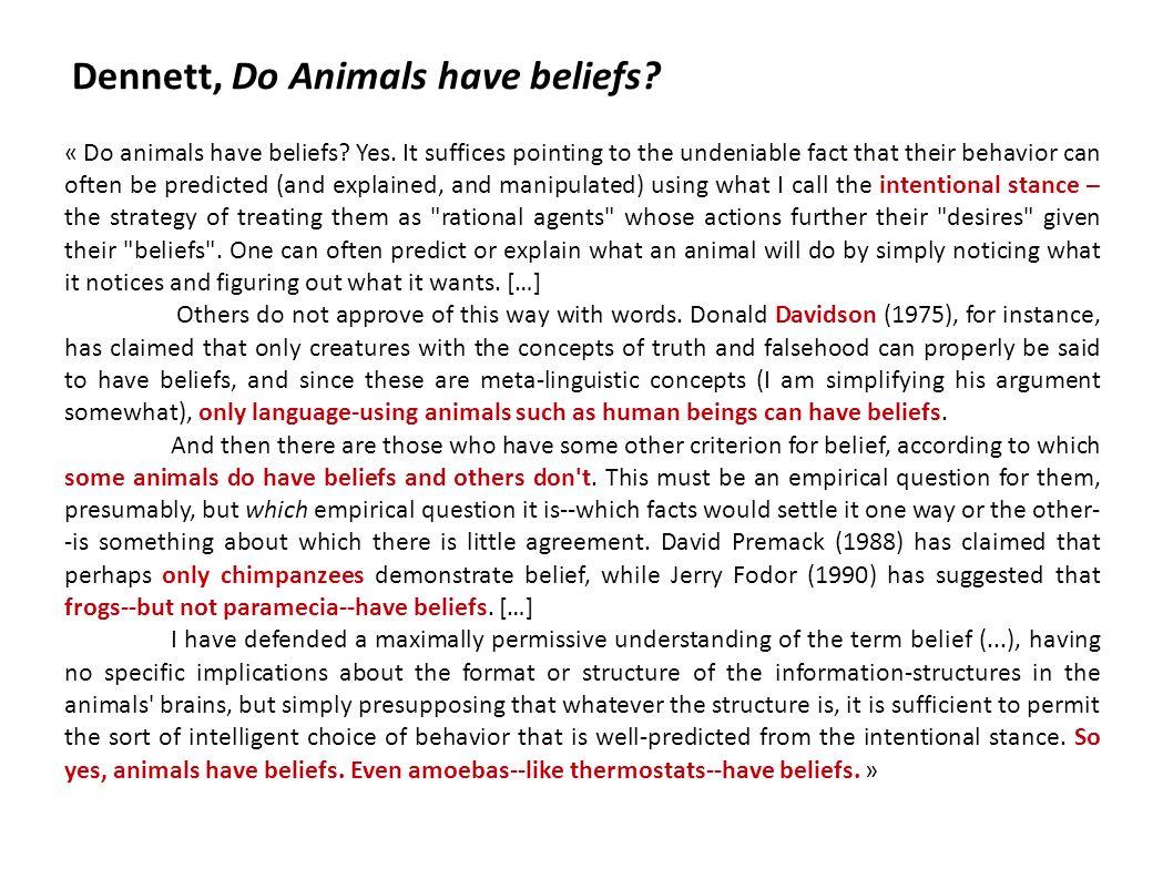 Dennett, Do Animals have beliefs