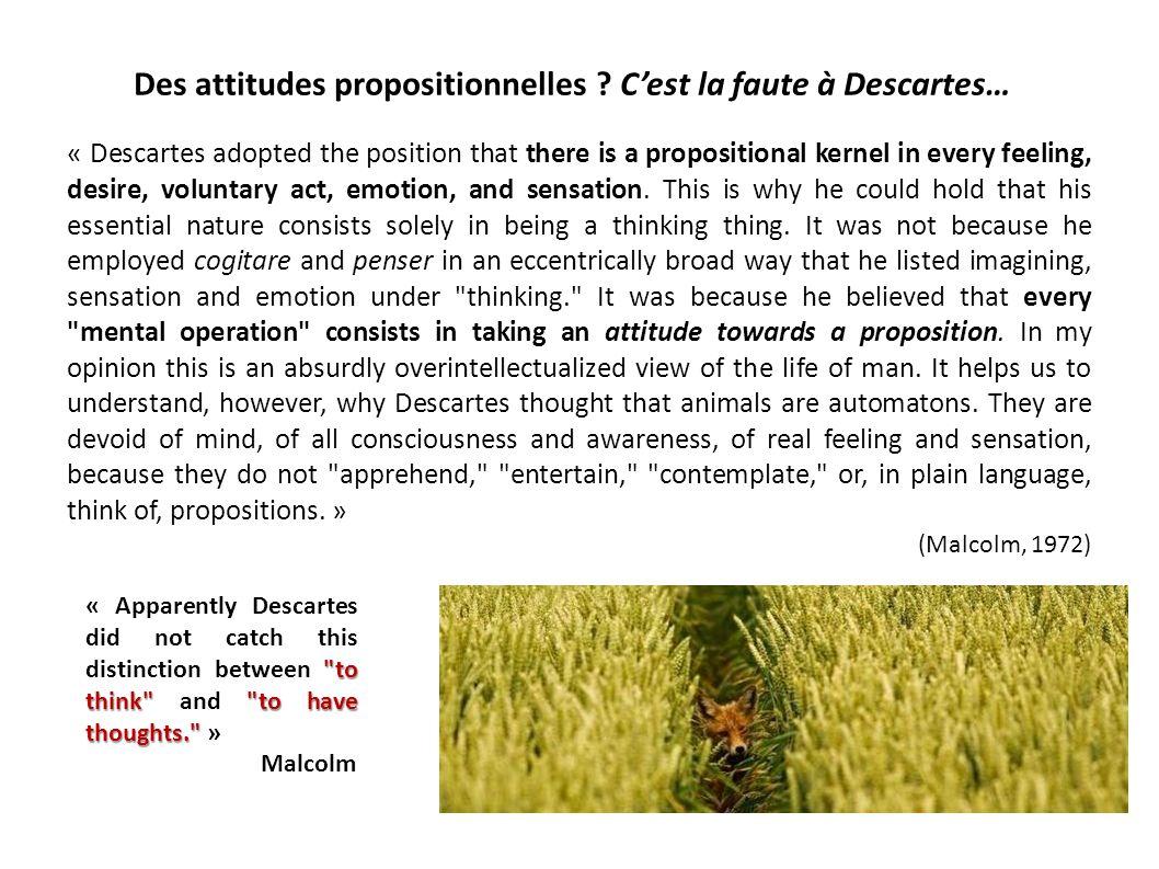 Des attitudes propositionnelles C'est la faute à Descartes…