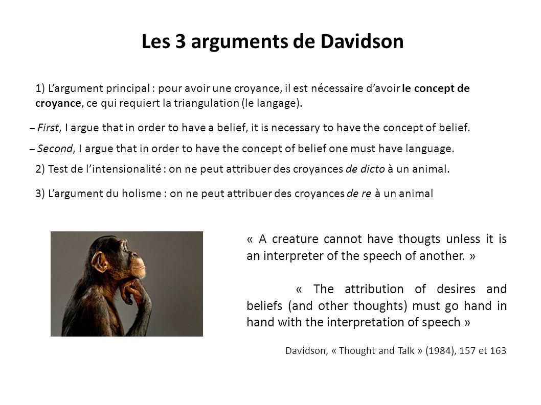 Les 3 arguments de Davidson