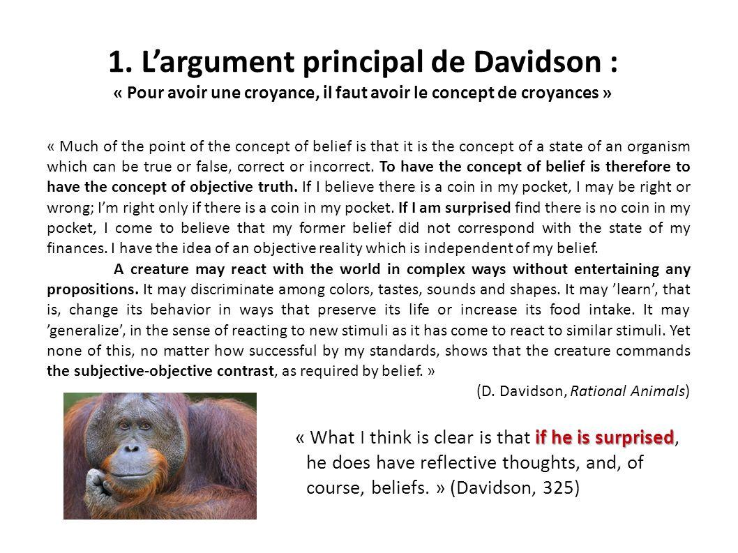 1. L'argument principal de Davidson :