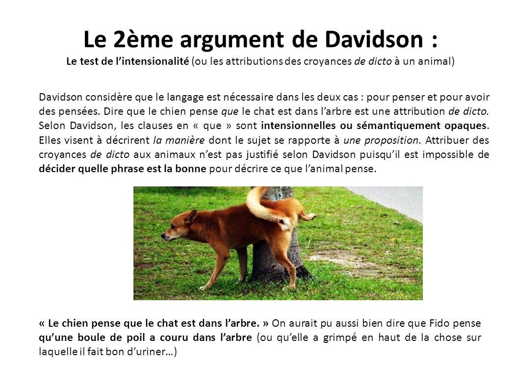 Le 2ème argument de Davidson :