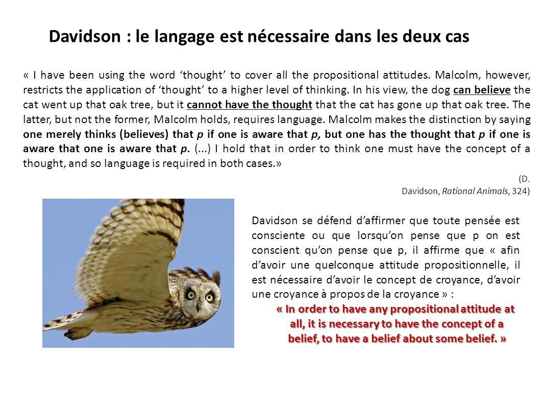 Davidson : le langage est nécessaire dans les deux cas