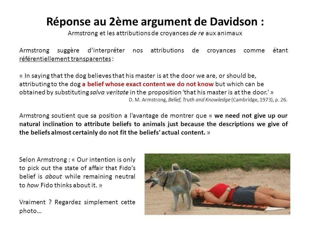 Réponse au 2ème argument de Davidson :