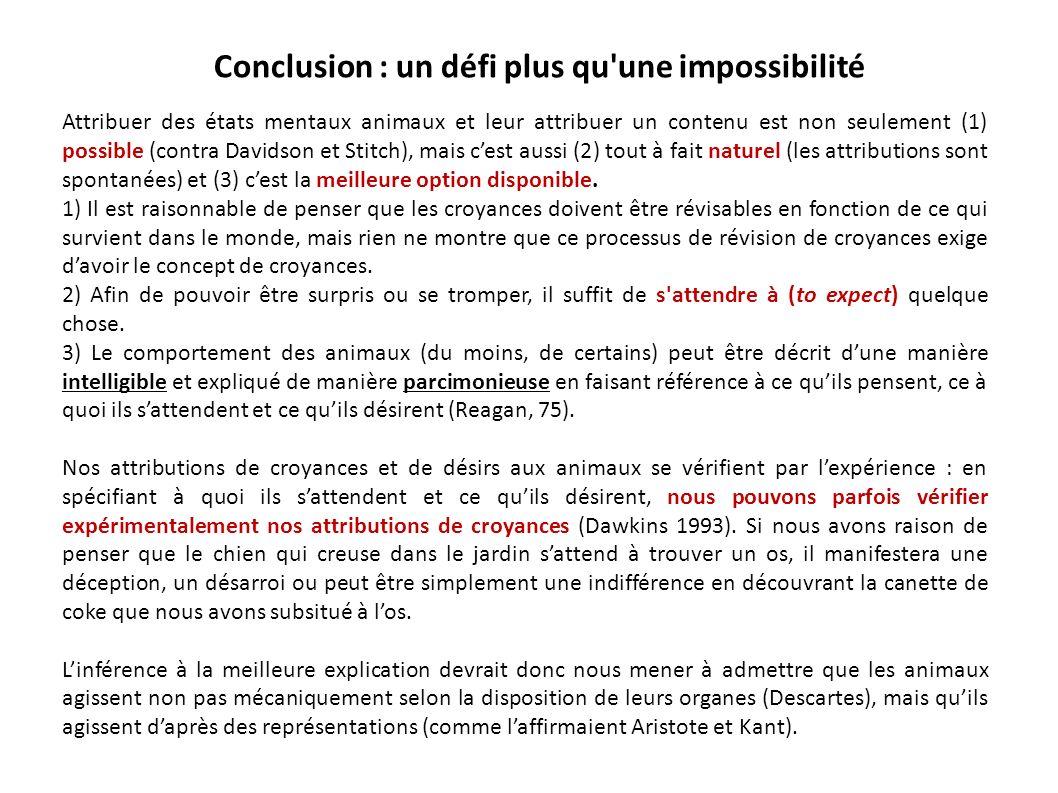 Conclusion : un défi plus qu une impossibilité