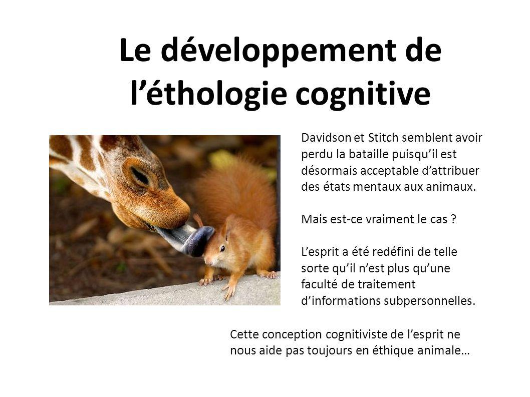 Le développement de l'éthologie cognitive
