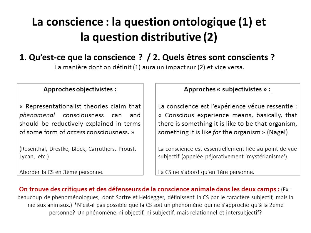 Approches objectivistes : Approches « subjectivistes » :