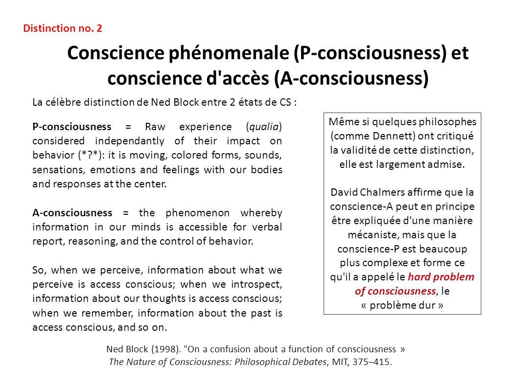 Distinction no. 2 Conscience phénomenale (P-consciousness) et conscience d accès (A-consciousness)