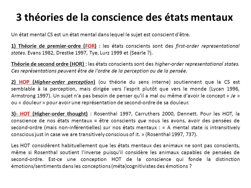 3 théories de la conscience des états mentaux