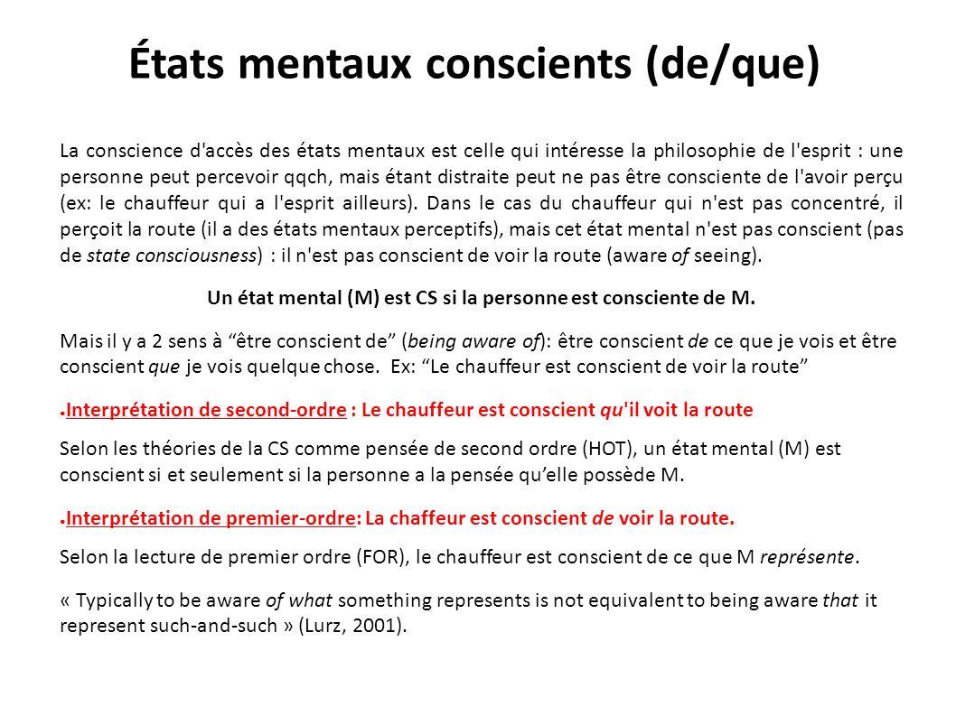 États mentaux conscients (de/que)