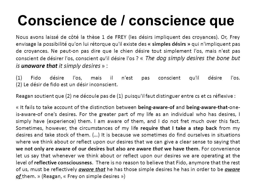 Conscience de / conscience que