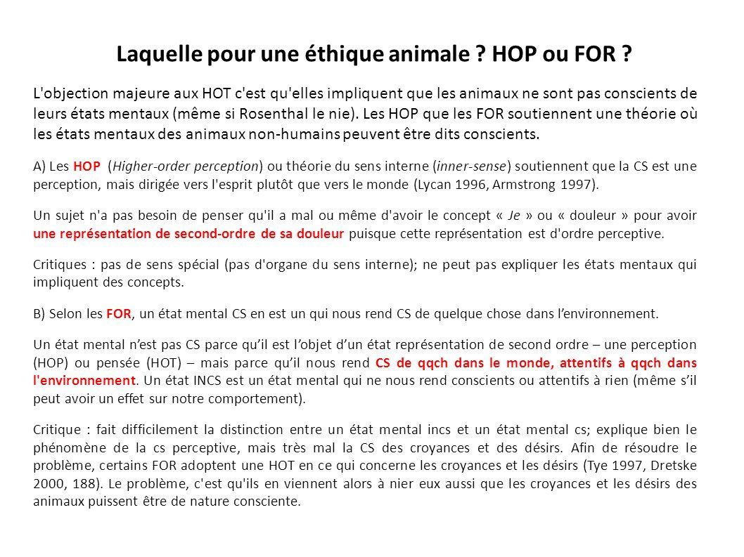 Laquelle pour une éthique animale HOP ou FOR