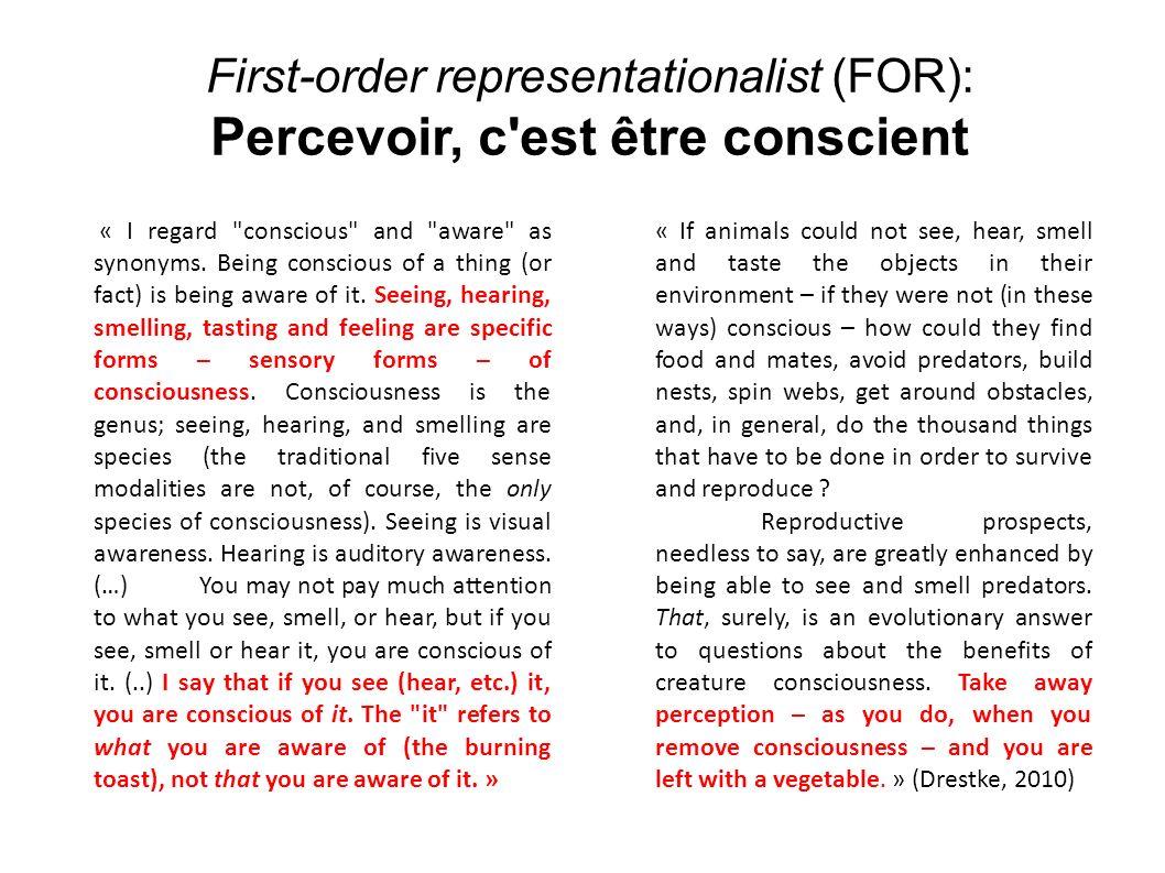 Percevoir, c est être conscient