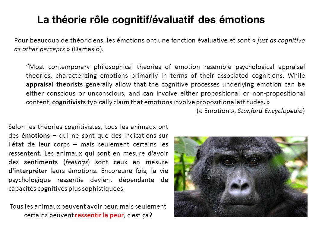 La théorie rôle cognitif/évaluatif des émotions