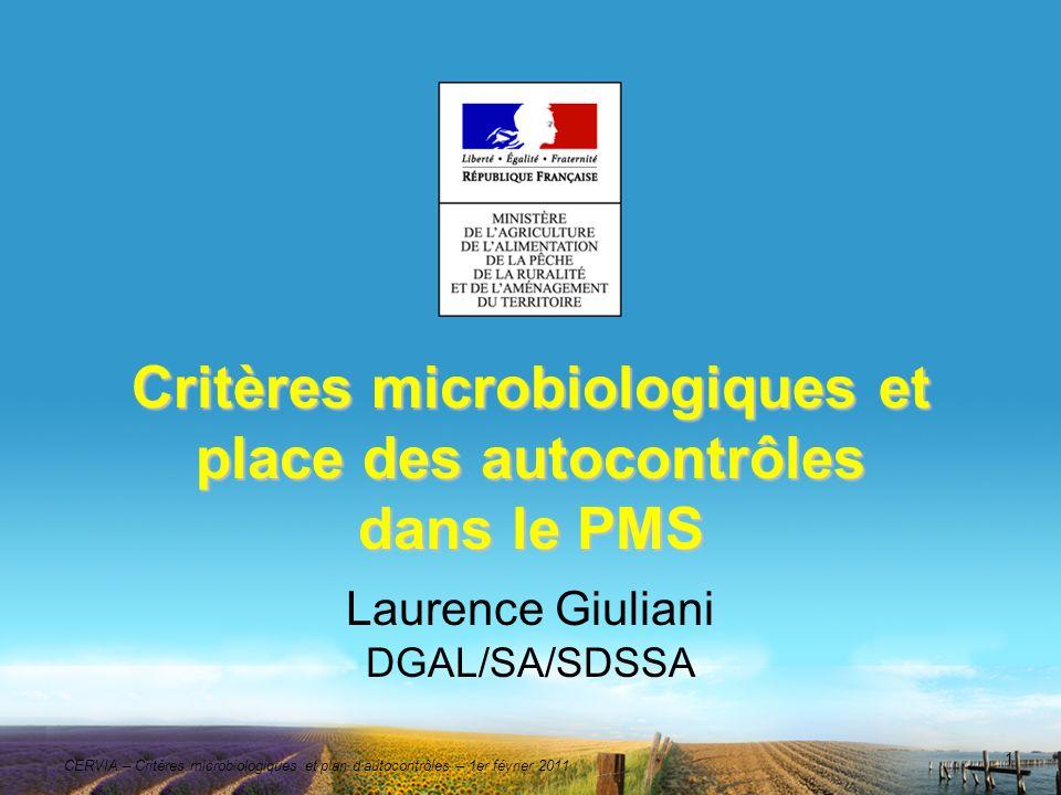 Critères microbiologiques et place des autocontrôles